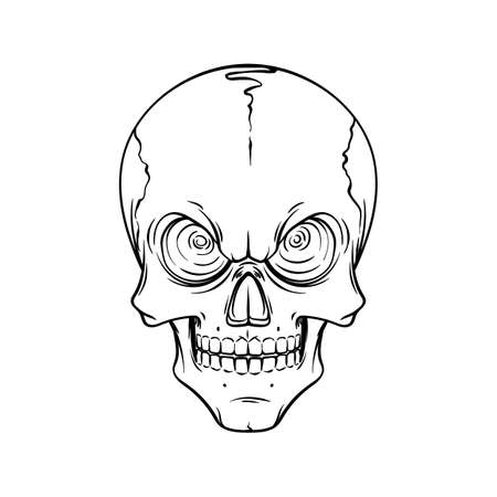 Lined tattoo illustration of skull. Vector scary illustration for tag, prints, t-shirt and design.