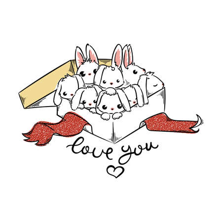 Love you. Holiday card with Cute Rabbits in a present box. Cartoon vector illustration for greetings card, design, print, coloring.