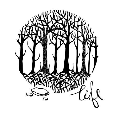 Life. Mysterious vector forest. Design for tribal tattoo, design, print, sign, tag, card, t-shirt.