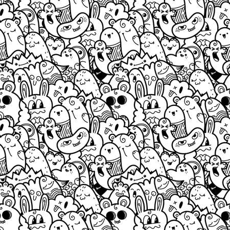 Funny doodle monsters seamless pattern for prints, designs and coloring books. Vector illustration Vector Illustratie