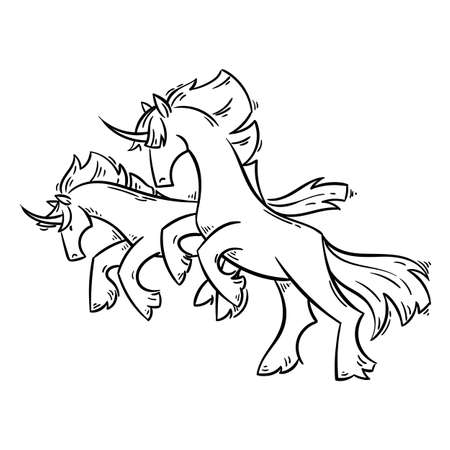 Abstract cartoon unicorns standing on two legs and gallop. Vector clip art illustration for prints, design, coloring books and pages, cards.