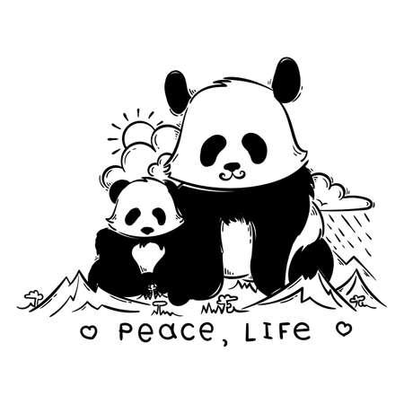 Paz, vida. Vector panda gigante grande y pequeño en las montañas. Ilustración de vector de animales de dibujos animados lindo