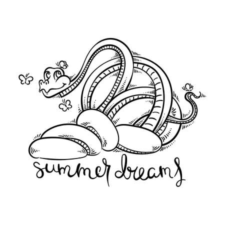 Summer dreams. Funny and friendly cartoon snake with butterflies. Cute vector illustration for kids, prints, design, cards, coloring.