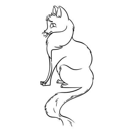 Cute fox cartoon. Vector illustration