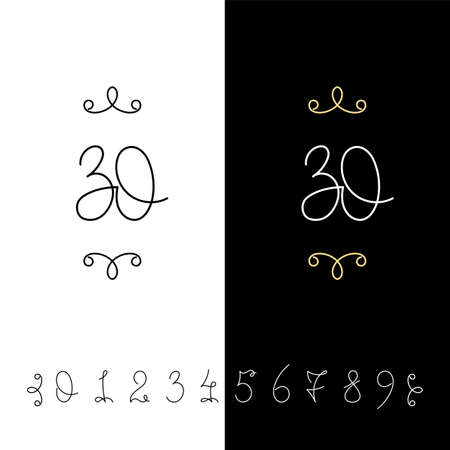 Set of vector calligraphy numbers from 0 to 9. Lined ornate monogram. Vintage ink lettering. Isolated on white and black backgrounds. Vettoriali