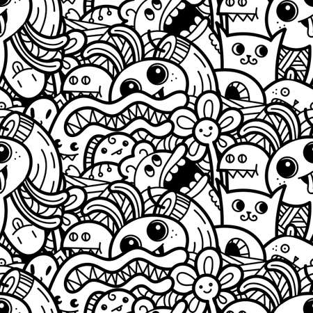 Funny doodle monsters seamless pattern for prints, designs and children books. Vector illustration for coloring pages