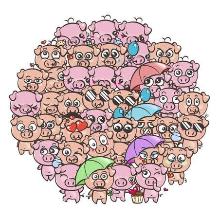 Fondo con lechones lindo bebé. Imagen de dibujos animados en colores pastel kawaii cerdos. Vector de dibujar a mano alzada doodle arte cómico emoji. Ilustración para libros, grabados, diseños, tarjetas.
