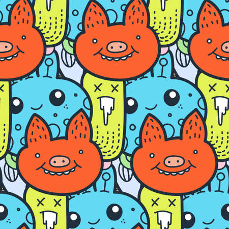 Pig face. Funny doodle monsters seamless pattern for prints, designs and coloring books. Vector illustration
