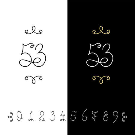 Set of vector calligraphy numbers from 0 to 9. Lined ornate monogram. Vintage ink lettering. Isolated on white and black backgrounds. 向量圖像