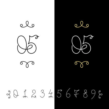 Set of vector calligraphy numbers from 0 to 9. Lined ornate monogram. Vintage ink lettering. Isolated on white and black backgrounds. Illustration
