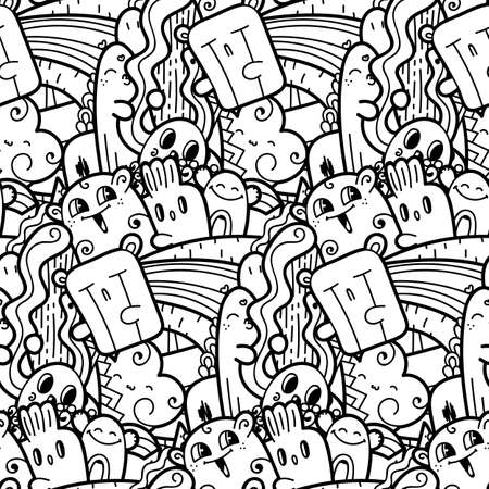 Funny doodle monsters seamless pattern for prints, designs and coloring books. 向量圖像