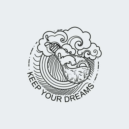 Keep your dreams. Vintage illustration of thin line magic bulb with ocean. Vector graphic design logo, print, label, badge, sticker, emblem, sign, identity.