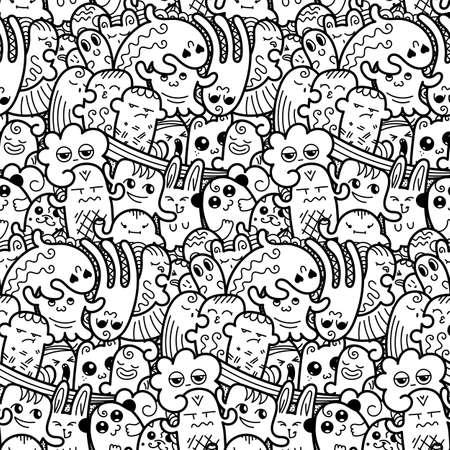 Modello senza cuciture di mostri divertenti doodle per stampe, disegni e libri da colorare. Illustrazione vettoriale