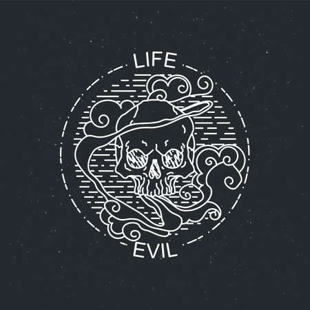 Life evil. Vector illustration of black and white tattoo graphic human skull. Lined symbol