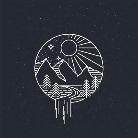Montañas de día y de noche. Cartel vintage de vector de exploración de la naturaleza. Ilustración de vector plano lineal moderno. Postal de vida silvestre retro con estrellas y bosque