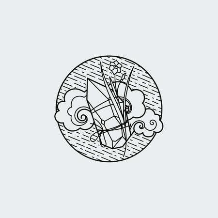 Vintage illustration of thin line crystall with ornate flower. Vector graphic design logo, print, label, badge, sticker, emblem, sign, identity.