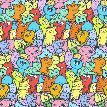 Funny doodle cats and kittens seamless pattern for prints, designs and coloring books. Vector illustration