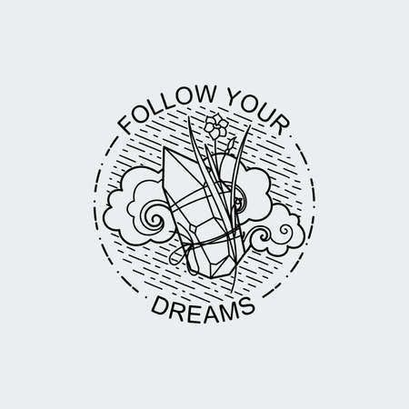 Follow your dreams. Vintage illustration of thin line crystall with ornate flower. Vector graphic design logo, print, label, badge, sticker, emblem, sign, identity.
