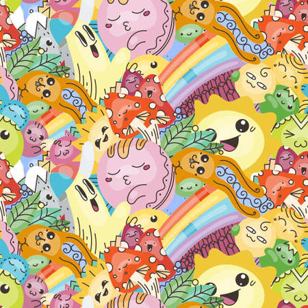 Funny doodle monsters on seamless pattern for prints, cards, designs and coloring books. Vector illustration  イラスト・ベクター素材