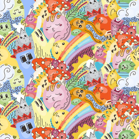 Funny doodle monsters on seamless pattern for prints, cards, designs and coloring books. Vector illustration Illusztráció