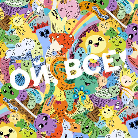 Oh, that is all. Swear russian phrase with funny doodle monsters on a background. Art for prints, designs, cards and coloring books. Vector illustration