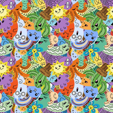 Funny doodle monsters on seamless pattern for prints, cards, designs and coloring books. Vector illustration