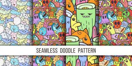 Collection of funny doodle monsters seamless pattern for prints, designs and coloring books. Vector illustration