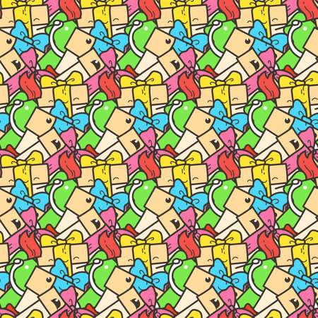 Funny doodle seamless pattern with gift boxes. Cute for prints, cards, designs and coloring books. Vector illustration