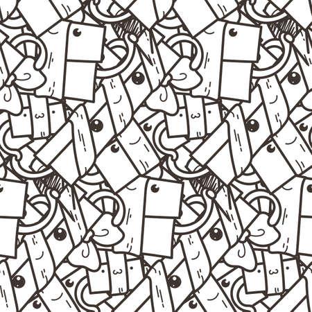 Modèle sans couture de doodle drôle avec des coffrets cadeaux. Mignon pour les impressions, les cartes, les dessins et les livres à colorier. Illustration vectorielle Vecteurs