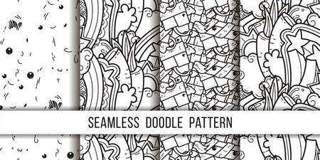 Collection of funny doodle monsters and box seamless pattern for prints, designs and coloring books. Vector illustration