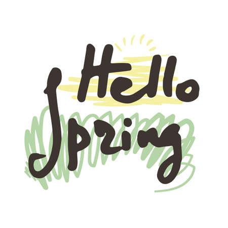 Hello Spring. Hand sketched logo, badge typography icon. Lettering spring season for greeting card, invitation symbol. Retro, vintage lettering banner, poster, print, tag. Vector image