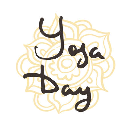 Yoga Day. Studio ink logo. Elegant hand lettering for your business. Nice for printed on greeting cards, paper and textile designs, etc. Vector image