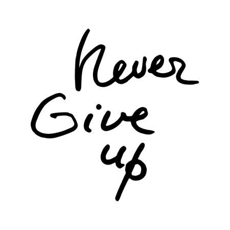 Never give up. Motivational doodle quote. Hand written ink inscription. Hand drawn brush lettering. Vector illustration Banque d'images - 126367054