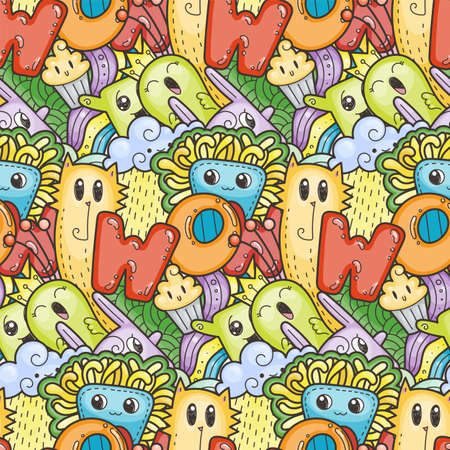 Wow. Seamless vector pattern with cute cartoon monsters and beasts. Nice for packaging, wrapping paper, coloring pages, wallpaper, fabric, fashion, home decor, prints etc. Vector illustration 向量圖像