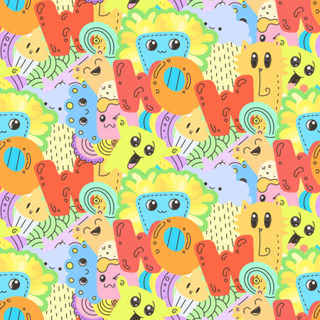 Wow. Seamless vector pattern with cute cartoon monsters and beasts. Nice for packaging, wrapping paper, coloring pages, wallpaper, fabric, fashion, home decor, prints etc. Vector illustration