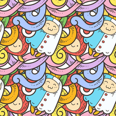 Seamless vector pattern with cute cartoon monsters and beasts. Nice for packaging, wrapping paper, coloring pages, wallpaper, fabric, fashion, home decor, prints etc. Vector illustration