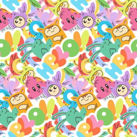 Hello. Seamless vector pattern with cute cartoon monsters and beasts. Nice for packaging, wrapping paper, coloring pages, wallpaper, fabric, fashion, home decor, prints etc. Vector illustration 向量圖像