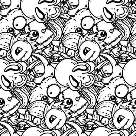 Modèle sans couture avec des monstres de dessin animé mignon. Prêt pour l'emballage, le papier d'emballage, les impressions, le papier peint, le tissu, le textile, la mode, la décoration intérieure, etc. Illustration vectorielle