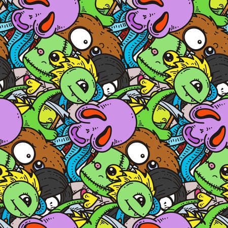 Seamless pattern with cute cartoon monsters. Ready for packaging, wrapping paper, prints, wallpaper, fabric, textile, fashion, home decor, etc. Vector illustration Ilustrace