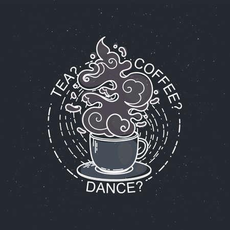 Tea, coffee, dance. Line drawing of cup of coffee or tea. Modern flat linear vector illustration. Retro menu postcard with mug of hot drink Illustration