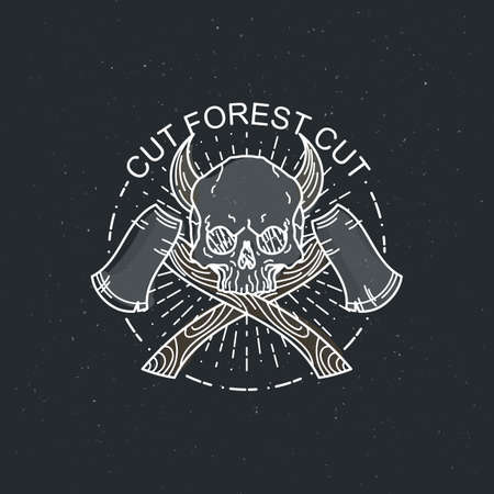 Cut forest cut. Vector illustration of color tattoo graphic human skull with axes and horns. Lined symbol Vector Illustration