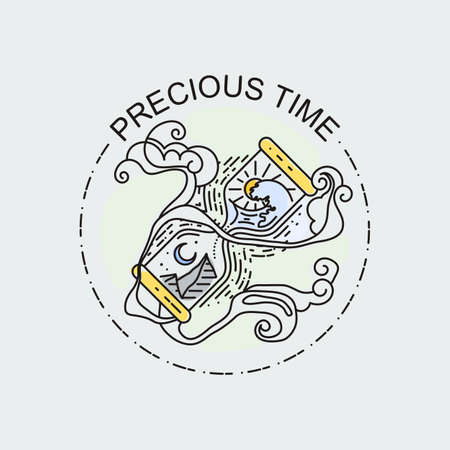 Precious Time. Sacred hourglass - linear design style isolated illustration. Tattoo vector concept art