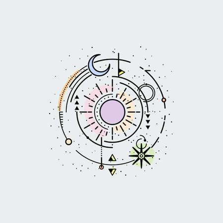 Vintage illustration of thin line sun of sacred. Vector graphic design print, label, badge, sticker, emblem, sign, identity.