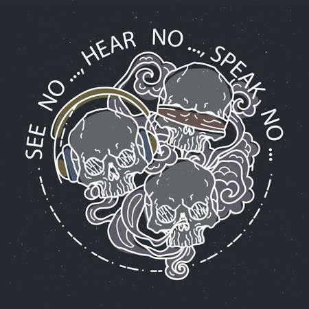 See no, hear no, speak no. Composition of three skulls. Vector illustration of color tattoo graphic human skull. Lined symbol