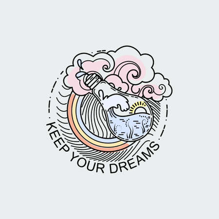 Keep your dreams. Vintage illustration of thin line magic bulb with ocean. Vector graphic design print, label, badge, sticker, emblem, sign, identity.