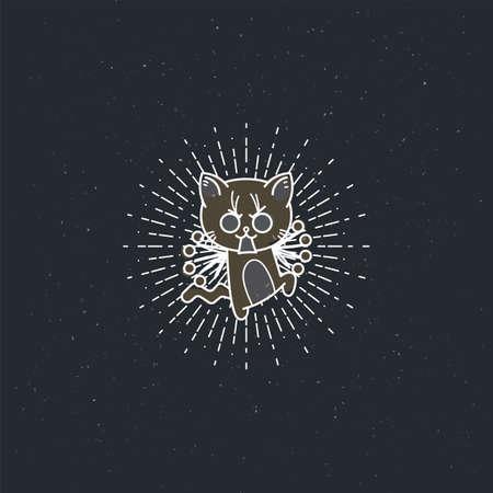 Vector illustration of a bristling cartoon cat. Lined jolt kitten 일러스트