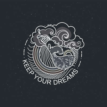 Keep your dreams. Vintage illustration of thin line magic bulb with ocean.
