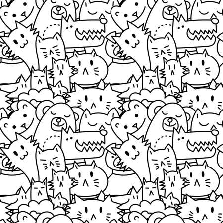 Seamless pattern with cute animals. Dogs, Cats, lion. Vector illustration