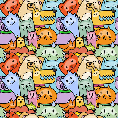 Seamless pattern with cute animals. Dogs, Cats, lion. Vector illustration Иллюстрация