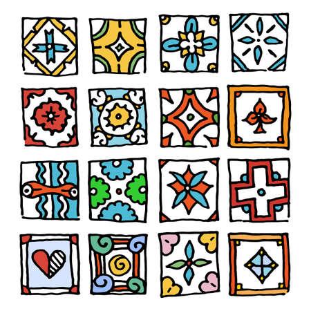 Set of grunge tiles. Vintage Islam, Arabic, Indian, ottoman decorative design elements. Patchwork handdrawn motifs. Vector collection